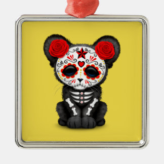 Red Day of the Dead Black Panther Cub Metal Ornament