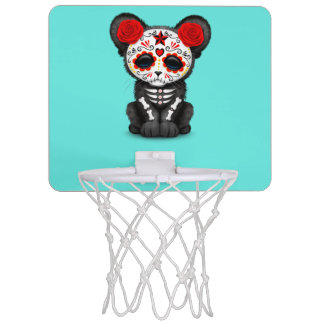 Red Day of the Dead Black Panther Cub Mini Basketball Hoop