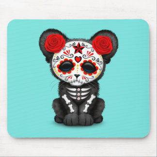 Red Day of the Dead Black Panther Cub Mouse Pad