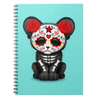 Red Day of the Dead Black Panther Cub Notebook