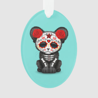 Red Day of the Dead Black Panther Cub Ornament