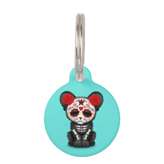 Red Day of the Dead Black Panther Cub Pet ID Tag
