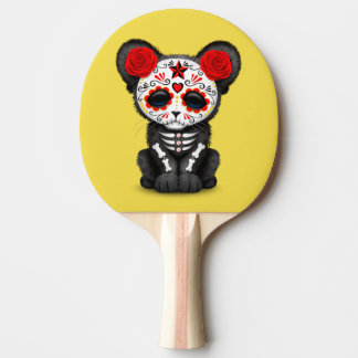 Red Day of the Dead Black Panther Cub Ping Pong Paddle