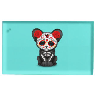 Red Day of the Dead Black Panther Cub Place Card Holder