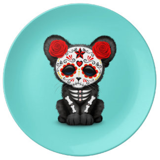 Red Day of the Dead Black Panther Cub Plate