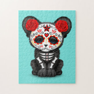 Red Day of the Dead Black Panther Cub Puzzle