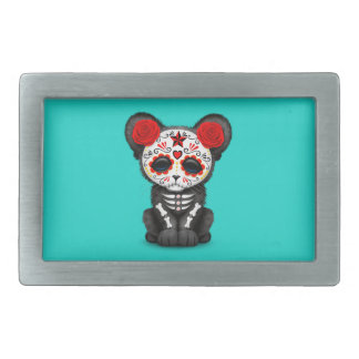 Red Day of the Dead Black Panther Cub Rectangular Belt Buckle