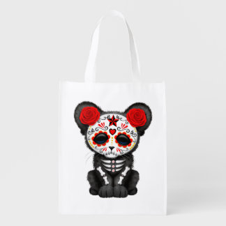 Red Day of the Dead Black Panther Cub Reusable Grocery Bag