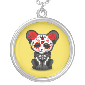 Red Day of the Dead Black Panther Cub Silver Plated Necklace