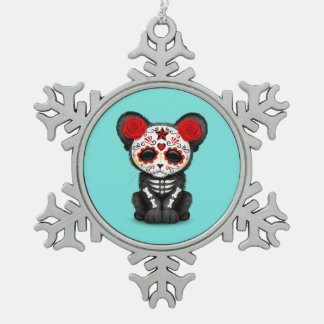 Red Day of the Dead Black Panther Cub Snowflake Pewter Christmas Ornament