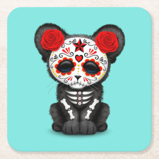 Red Day of the Dead Black Panther Cub Square Paper Coaster