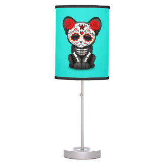 Red Day of the Dead Black Panther Cub Table Lamp