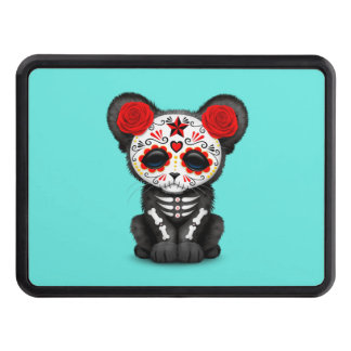 Red Day of the Dead Black Panther Cub Trailer Hitch Cover