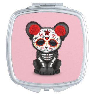 Red Day of the Dead Black Panther Cub Travel Mirror