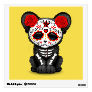 Red Day of the Dead Black Panther Cub Wall Decal