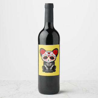 Red Day of the Dead Black Panther Cub Wine Label