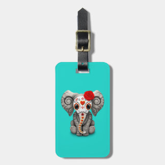 Red Day of the Dead Elephant Luggage Tag