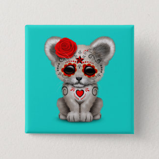 Red Day of the Dead Lion Cub 2 Inch Square Button