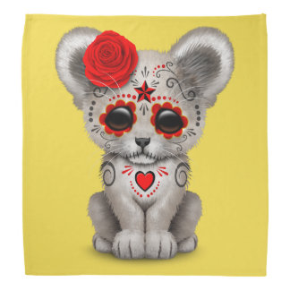 Red Day of the Dead Lion Cub Bandana