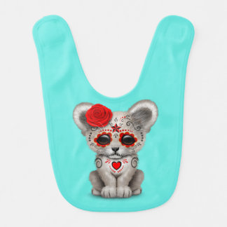 Red Day of the Dead Lion Cub Bib