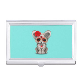 Red Day of the Dead Lion Cub Business Card Holder
