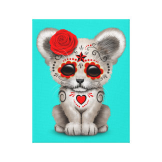 Red Day of the Dead Lion Cub Canvas Print