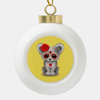 Red Day of the Dead Lion Cub Ceramic Ball Christmas Ornament