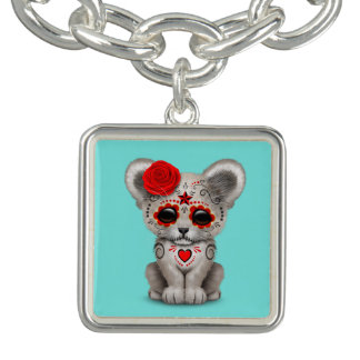 Red Day of the Dead Lion Cub Charm Bracelets