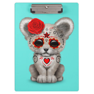 Red Day of the Dead Lion Cub Clipboard