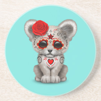 Red Day of the Dead Lion Cub Coaster