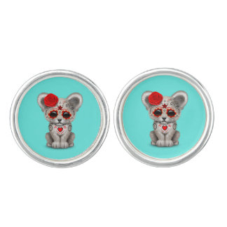 Red Day of the Dead Lion Cub Cuff Links