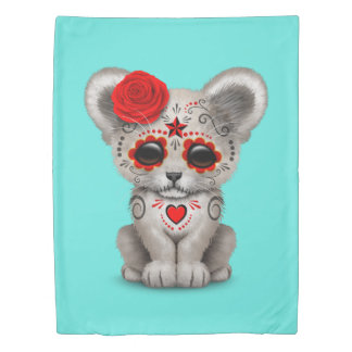 Red Day of the Dead Lion Cub Duvet Cover