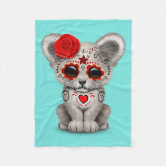 Red Day of the Dead Lion Cub Fleece Blanket