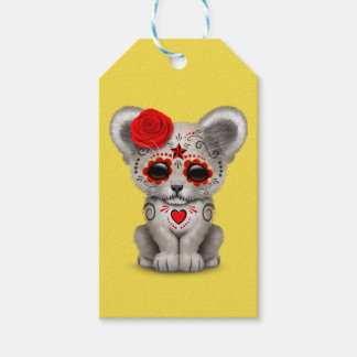 Red Day of the Dead Lion Cub Gift Tags