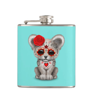 Red Day of the Dead Lion Cub Hip Flask