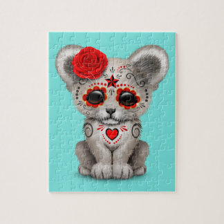 Red Day of the Dead Lion Cub Jigsaw Puzzle