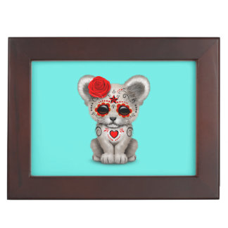 Red Day of the Dead Lion Cub Keepsake Box