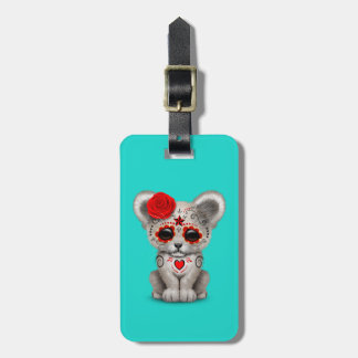 Red Day of the Dead Lion Cub Luggage Tag