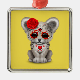 Red Day of the Dead Lion Cub Metal Ornament