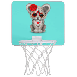 Red Day of the Dead Lion Cub Mini Basketball Hoop