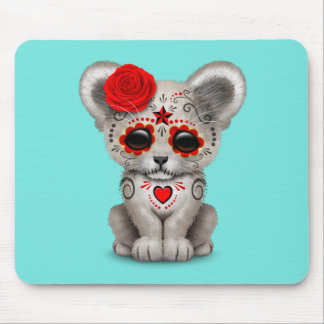 Red Day of the Dead Lion Cub Mouse Pad