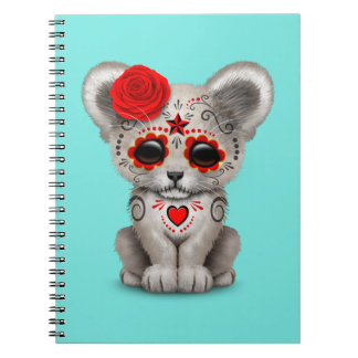 Red Day of the Dead Lion Cub Notebook