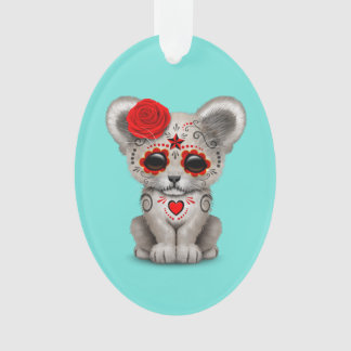 Red Day of the Dead Lion Cub Ornament