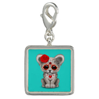 Red Day of the Dead Lion Cub Photo Charm