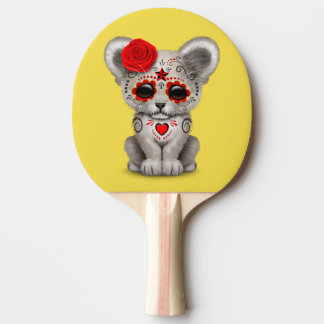 Red Day of the Dead Lion Cub Ping Pong Paddle