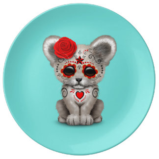 Red Day of the Dead Lion Cub Plate