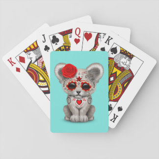 Red Day of the Dead Lion Cub Playing Cards