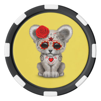 Red Day of the Dead Lion Cub Poker Chips