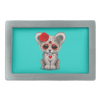 Red Day of the Dead Lion Cub Rectangular Belt Buckle