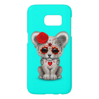 Red Day of the Dead Lion Cub Samsung Galaxy S7 Case